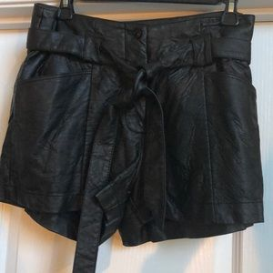 H&M distressed Faux leather shorts